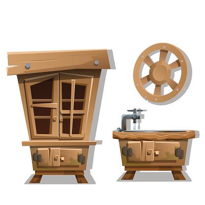 Kitchen interior furniture in Wild West style.