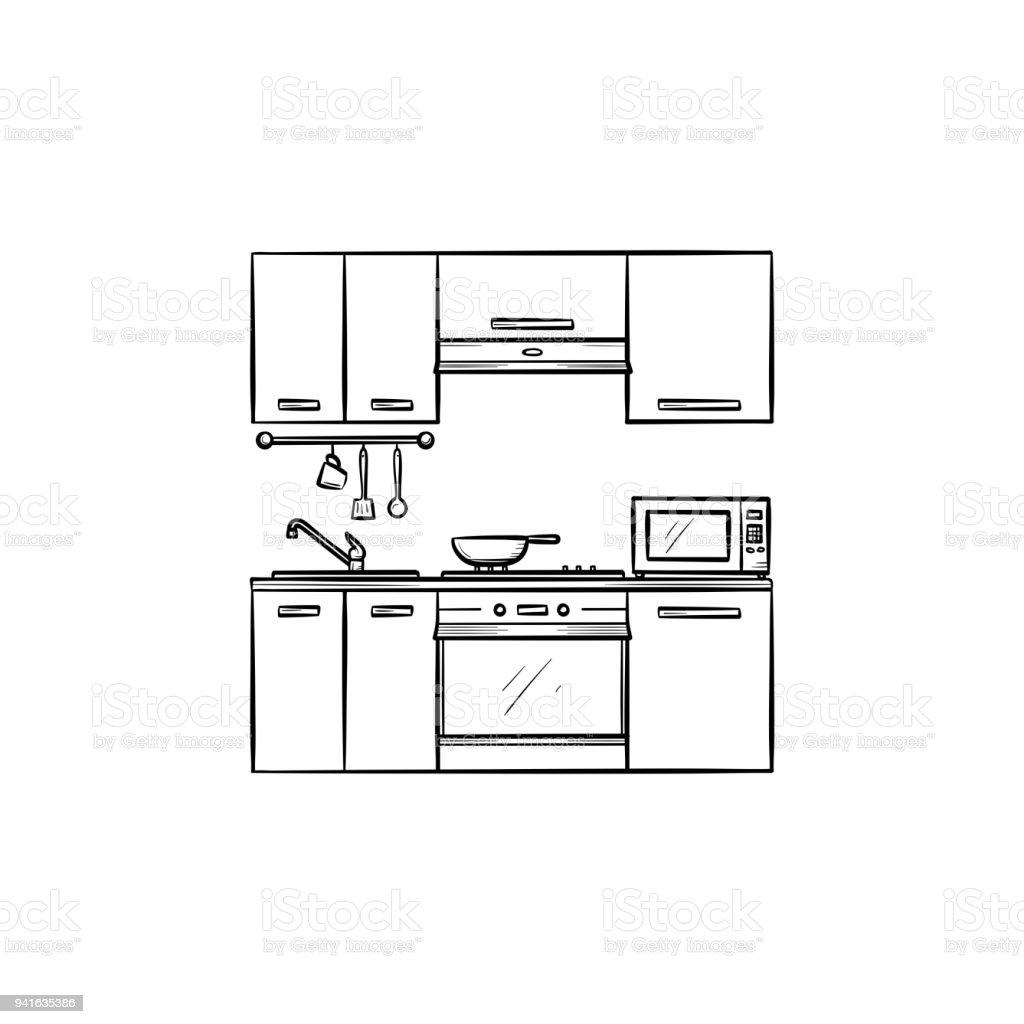 Küche Interieur Handsymbol Gezeichnete Skizze Stock Vektor Art und ...