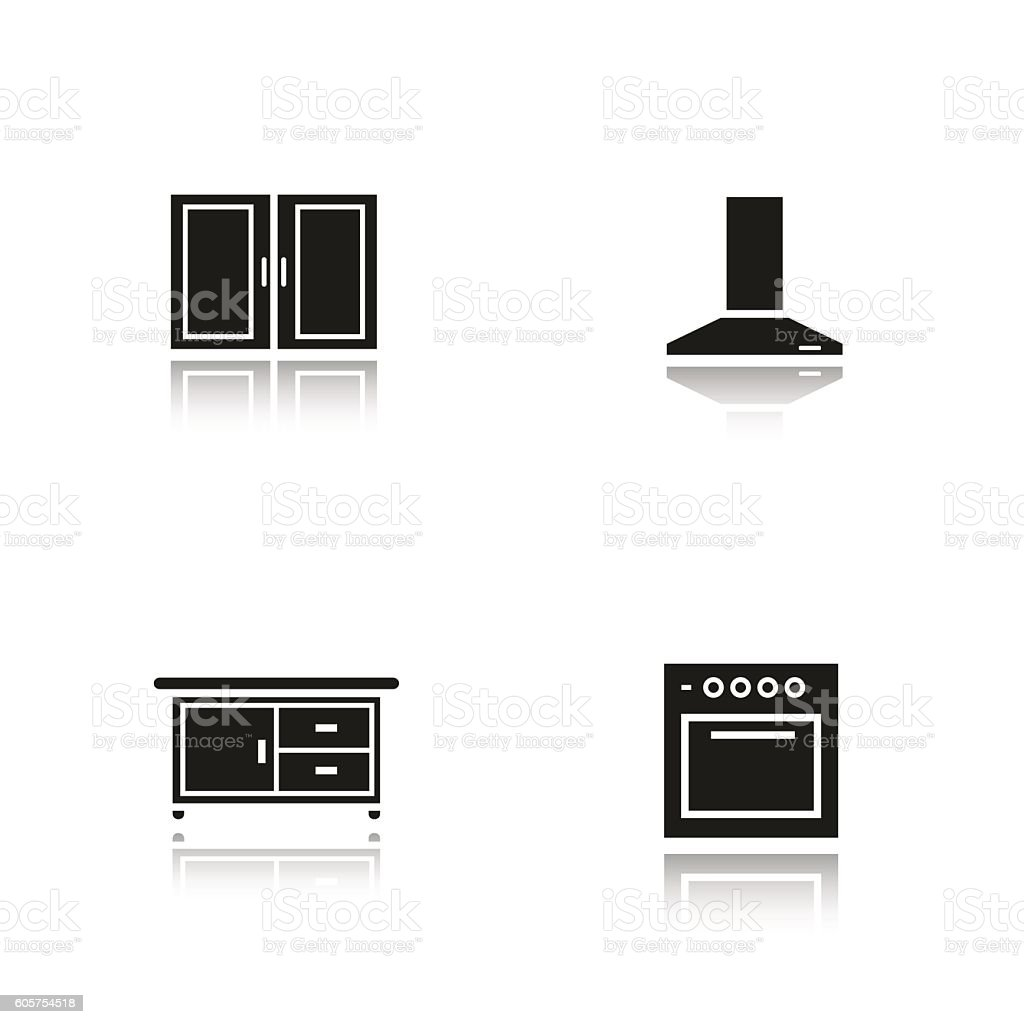 Kitchen Interior Icons Stock Vector Art More Images Of Cabinet