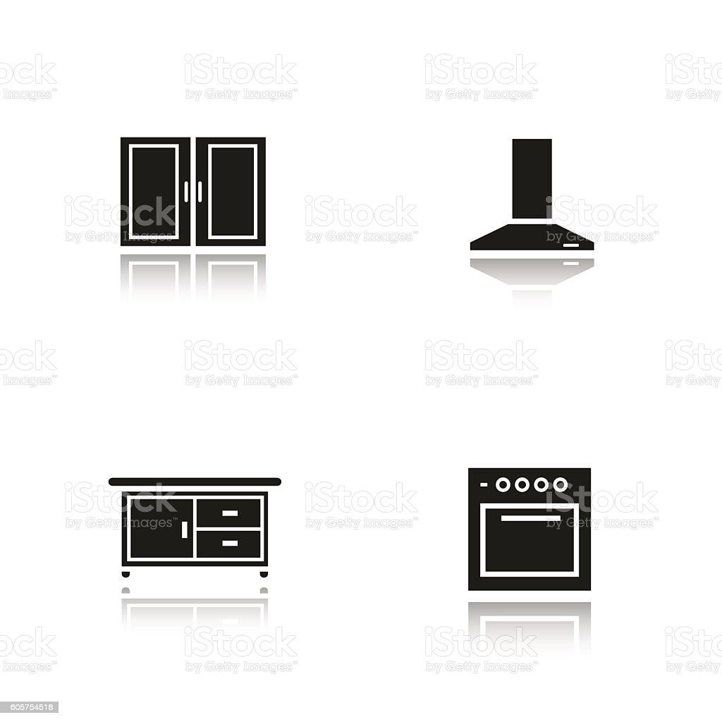Kitchen interior icons vector art illustration