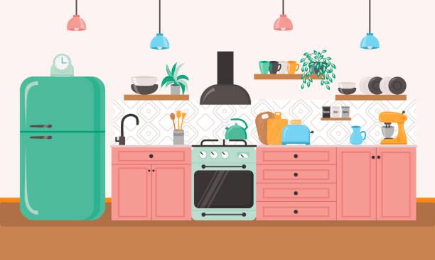 bildbanksillustrationer, clip art samt tecknat material och ikoner med köksinredning illustration. - kitchen