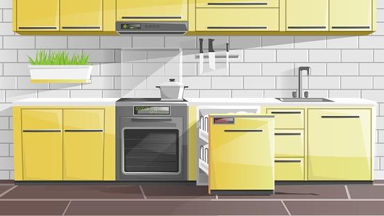 Kitchen Interior in Apartment, Modern Furniture.