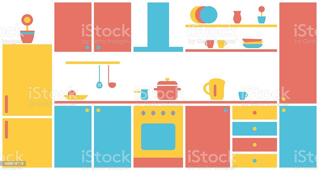 Kitchen Interior In Flat Design Kitchen Furniture Stock Vector Art
