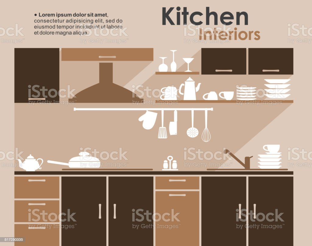 Kitchen interior in flat infographic style vector art illustration