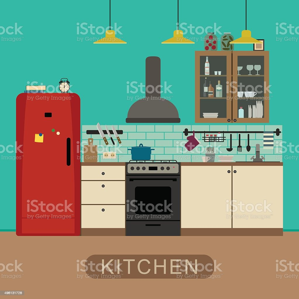 Kitchen Interior In Flat Style Stock Vector Art More Images Of