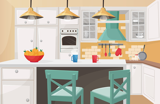 Kitchen interior in traditional design flat cartoon vector illustration. Cozy atmosphere, brick decorated wall, cute form cabinet doors, rough wooden chairs, furniture, kitchenware.