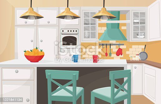 istock Kitchen interior in traditional design flat cartoon vector illustration. Cozy atmosphere, brick decorated wall, cute form cabinet doors, rough wooden chairs, furniture, kitchenware. 1221841134