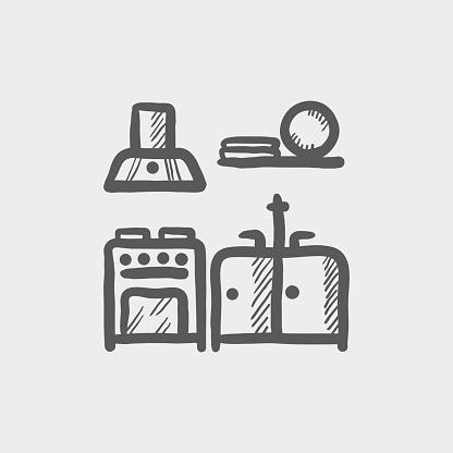 Kitchen interior sketch hand drawn doodle icon