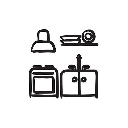 Kitchen interior sketch icon