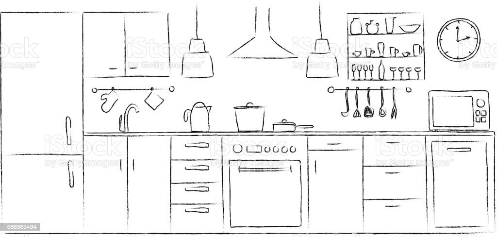 Line Drawing Kitchen : Kitchen interior sketches hand drawing front view contour