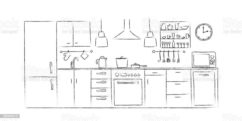 Keuken Interieur Schetsen Hand Tekenen Vooraanzicht Stockvectorkunst ...
