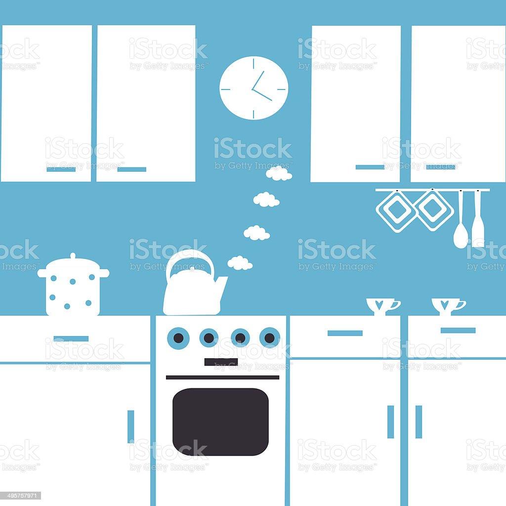 Kitchen interior vector art illustration