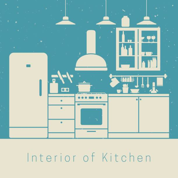 illustrazioni stock, clip art, cartoni animati e icone di tendenza di kitchen interior - kitchen situations