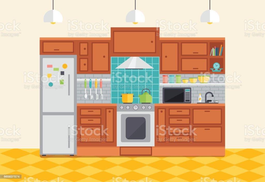 Keuken interieur vectorillustratie vlakke design meubels en keuken