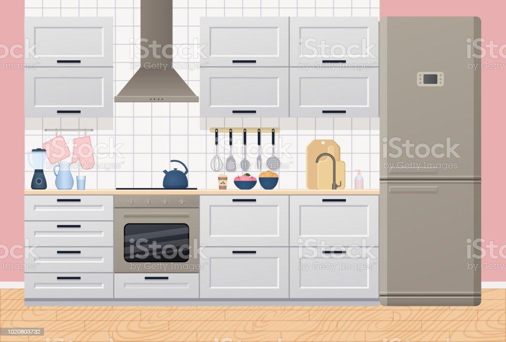 Kitchen Interior Vector Illustration In Flat Design Stock Vector Art