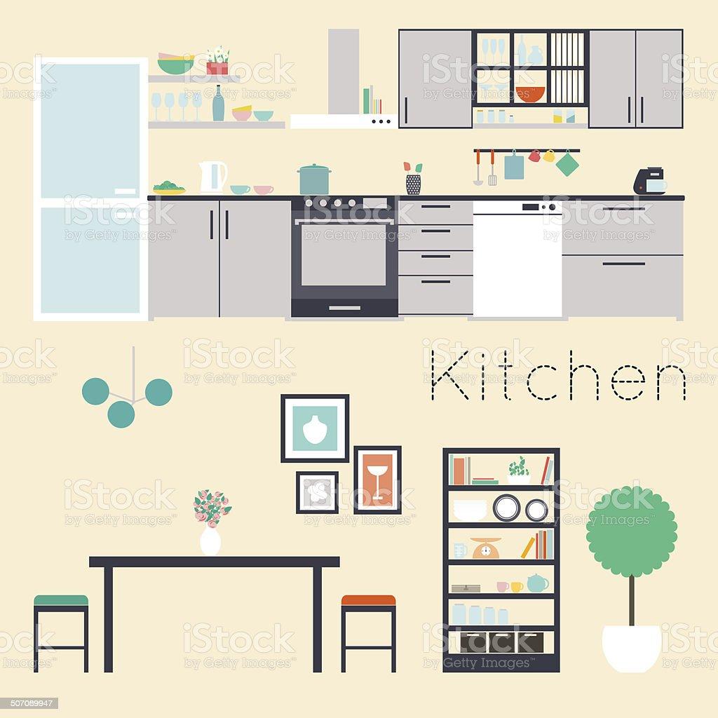 Kitchen interior vector illustration vector art illustration