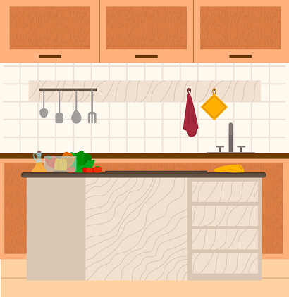 Kitchen Interior View Cooking Nobody Place Vector