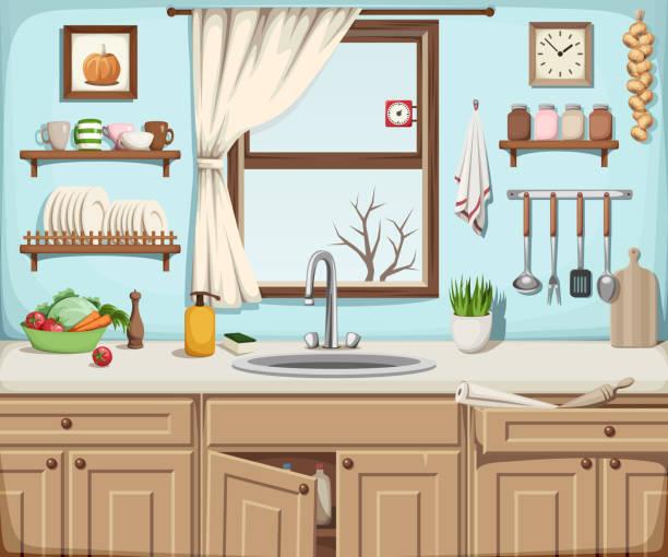 Küche Innenraum mit Waschbecken, Fenster und Küchenutensilien. Vector Illustration. – Vektorgrafik