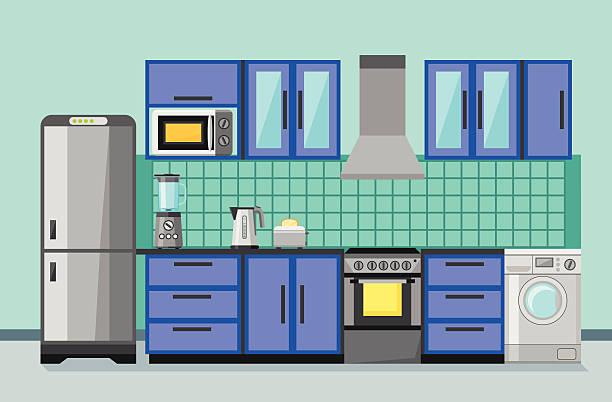 küche interieur mit küchengeräten und möbeln. flache stil. - waschküchendekorationen stock-grafiken, -clipart, -cartoons und -symbole