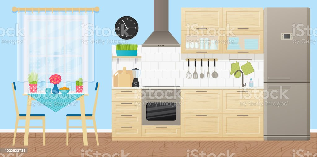 Küche Eingerichtet Mit Essecke. Vektor Illustration. Flaches Design.  Lizenzfreies Küche Eingerichtet Mit