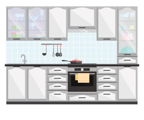 küche eingerichtet mit möbeln und geräten. flache vektorgrafik. - dachpfannen stock-grafiken, -clipart, -cartoons und -symbole