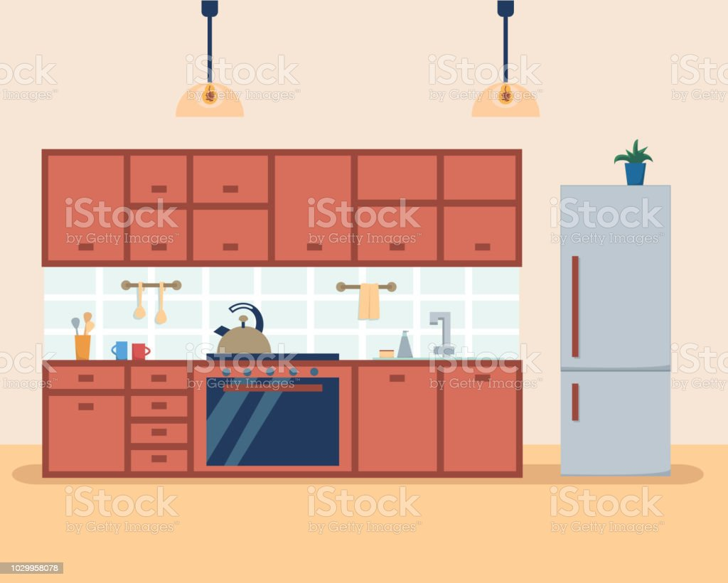 Kitchen Interior With Furniture And Stove Cupboard Fridge And