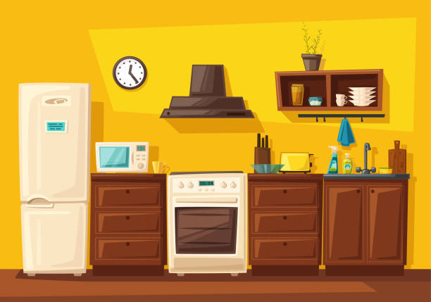 illustrazioni stock, clip art, cartoni animati e icone di tendenza di kitchen interior with furniture. cartoon vector illustration - cucina domestica