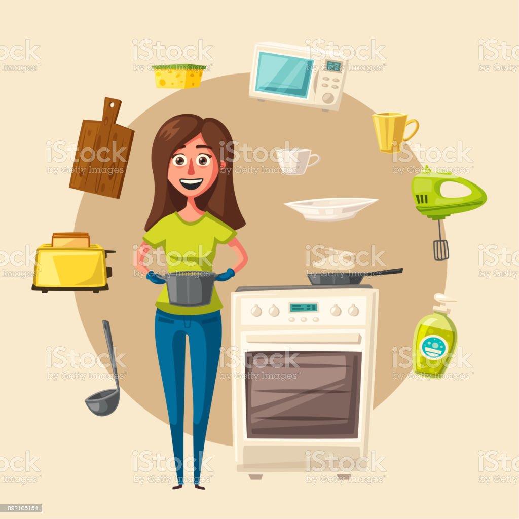Kitchen interior with furniture. Cartoon vector illustration vector art illustration