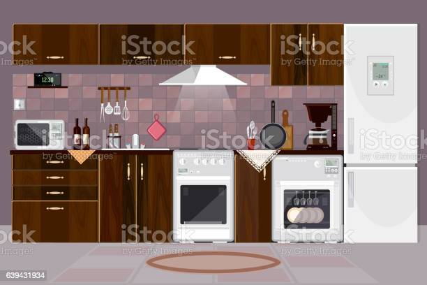 Kitchen Interior With Furniture Design Of Modern Kitchen Stock Vektor Art Und Mehr Bilder Von Architektur Istock