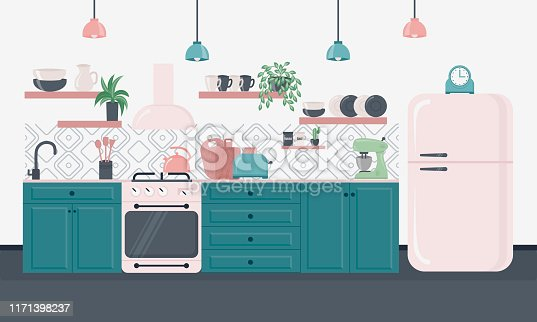 Kitchen interior inspirational design in loft style. Dining area in the house, kitchen utensils. Illustration slide for furniture site