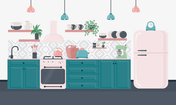 Kitchen interior with furniture. Furniture design banner concept. Kitchen interior inspirational design in loft style. Dining area in the house, kitchen utensils. Illustration slide for furniture site kitchen stock illustrations