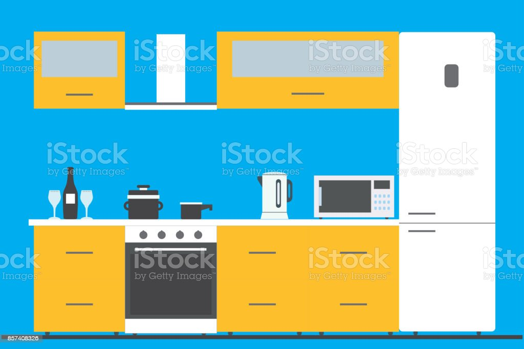 Kitchen interior with furniture, utensils,  and devices vector art illustration