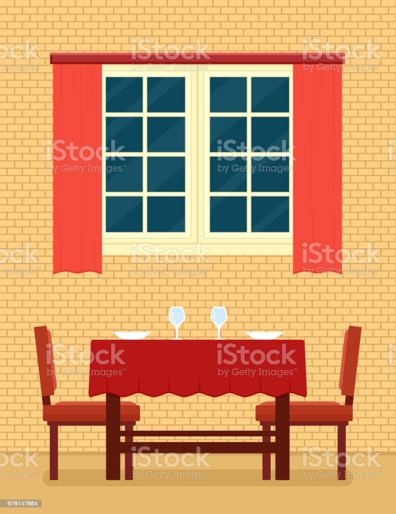 Kitchen Interior With Laid Table And Romantic Setting Stock Vector ...