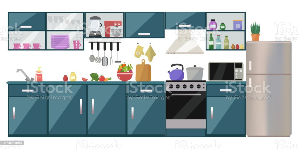 Kitchen interior with table, stove, cupboard, dishes, appliances