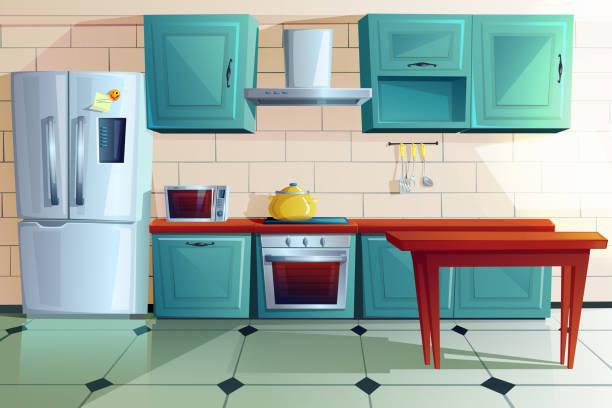 bildbanksillustrationer, clip art samt tecknat material och ikoner med köksinredning witn trämöbler tecknad - kitchen