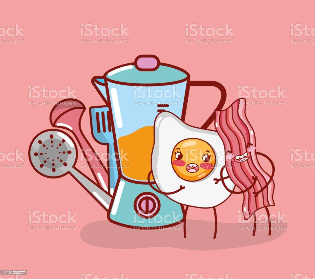 Kitchen Items Cartoon Kawaii Cartoon Stock Illustration Download Image Now Istock