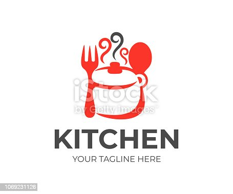 Kitchen, kitchenware, saucepan, fork and spoon icon design. Cooking eat, food and restaurant, vector design and illustration