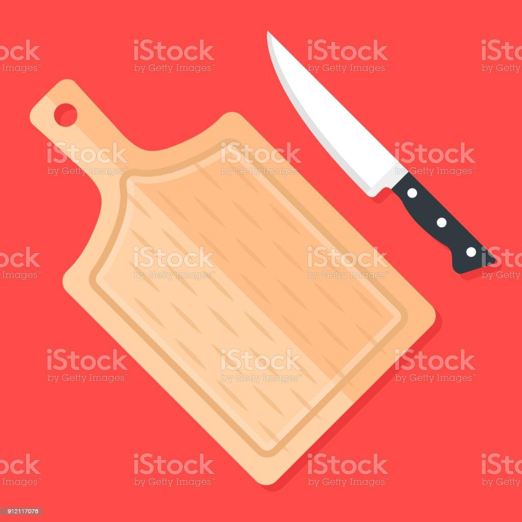 Planche À Découper Humoristique couteau de cuisine et de la planche À découper vue de dessus