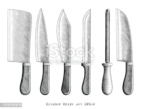 istock Kitchen Knife illustration hand draw vintage engraving style black and white clip art isolated on white background 1215757679