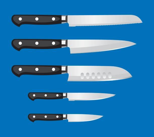 stockillustraties, clipart, cartoons en iconen met de reeks van het mes van de keuken - keukenmes