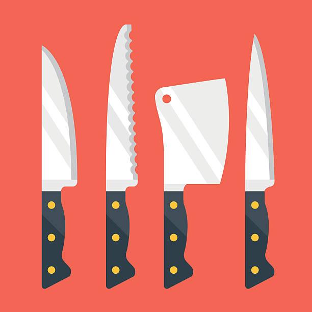 stockillustraties, clipart, cartoons en iconen met kitchen knives set. flat design vector illustration - keukenmes