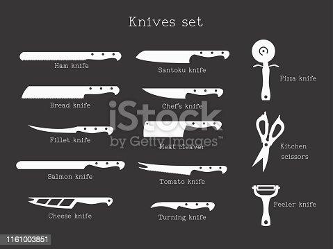 Kitchen knives set with signature names on black background. Vector illustration.