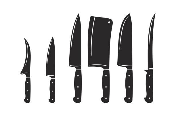Kitchen knives vector icon set Kitchen knives vector icon set art utility knife stock illustrations