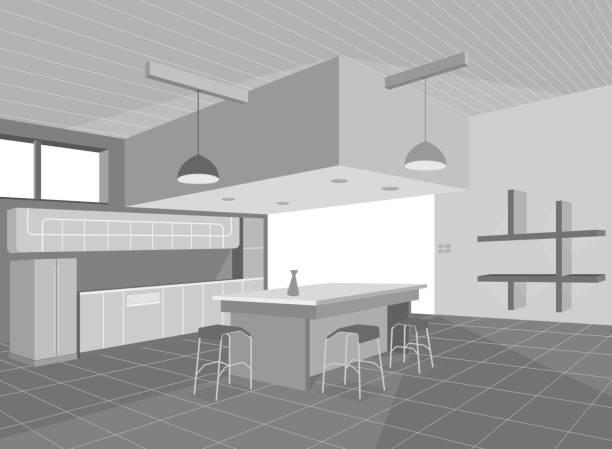 ausstattung der küche - winkelküche stock-grafiken, -clipart, -cartoons und -symbole