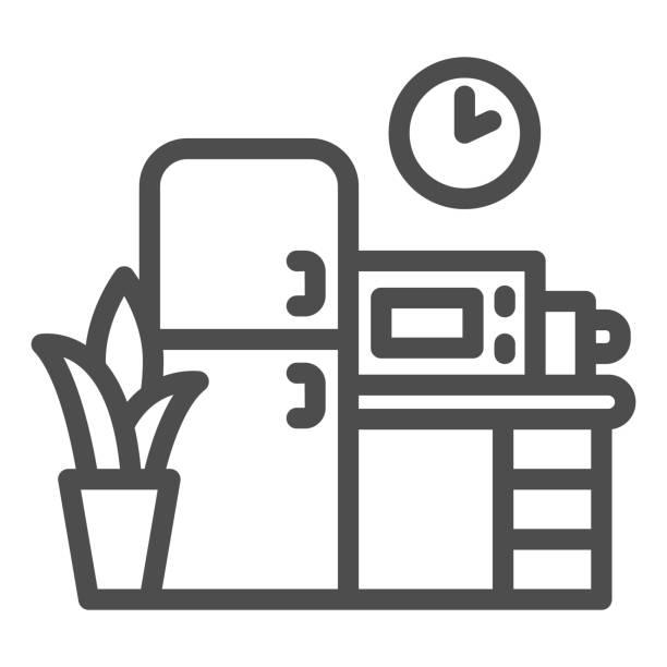 illustrations, cliparts, dessins animés et icônes de icône de ligne de cuisine, concept de coworking, signe de meubles sur fond blanc, icône de cuisine de bureau dans le modèle de contour pour le concept mobile et la conception web. graphiques vectoriels. - abstract mirror