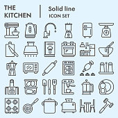 Kitchen line icon set, cooking signs collection, vector sketches, logo illustrations, web symbols, linear pictograms package isolated on white background, eps 10