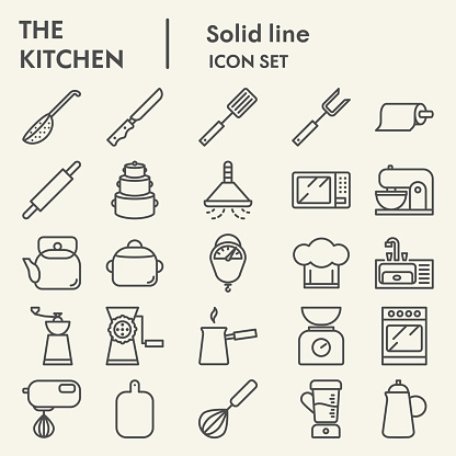 Kitchen line icon set, cooking symbols set collection or vector sketches. Cookware and appliances signs set for computer web, the linear pictogram style package isolated on beige background, eps 10.