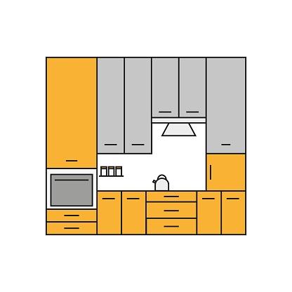 Kitchen  Line Icon. Vector Illustration