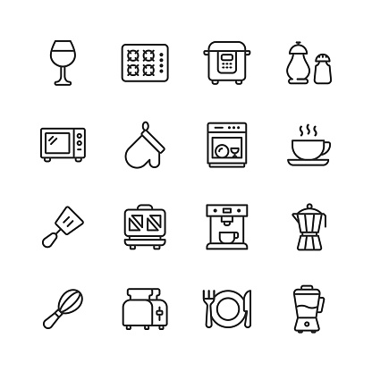 Kitchen Line Icons. Editable Stroke. Pixel Perfect. For Mobile and Web. Contains such icons as Drinking Glass, Gas Cooker, Microwave, Salt, Pepper, Oven Glove, Dishwasher, Coffee Cup, Toaster, Plate, Restaurant, Eating, Cooking, Dining.
