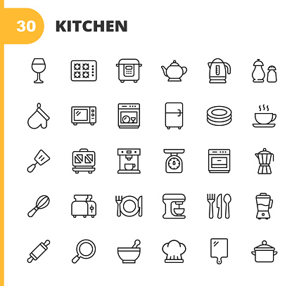 Kitchen Line Icons. Editable Stroke. Pixel Perfect. For Mobile and Web. Contains such icons as Dough Roll, Tea Pot, Kettle, Pot, Fridge, Plate, Dishes, Cutting Board, Kitchen Scale, Oven, Chef's Cap, Coffee Maker, Blender, Cutlery, Bowl, Knife, Fork.